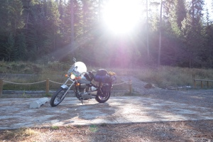 Good morning sunshine. You ready to ride? Taking off from a night spent in Coeur d'Alene. It was a lovely, free, campsite.