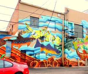 Laramie fish mural, continued.