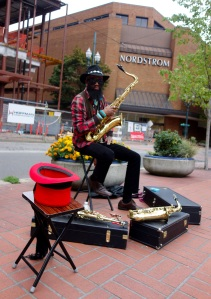 My first day meeting the busker, Tony Street.